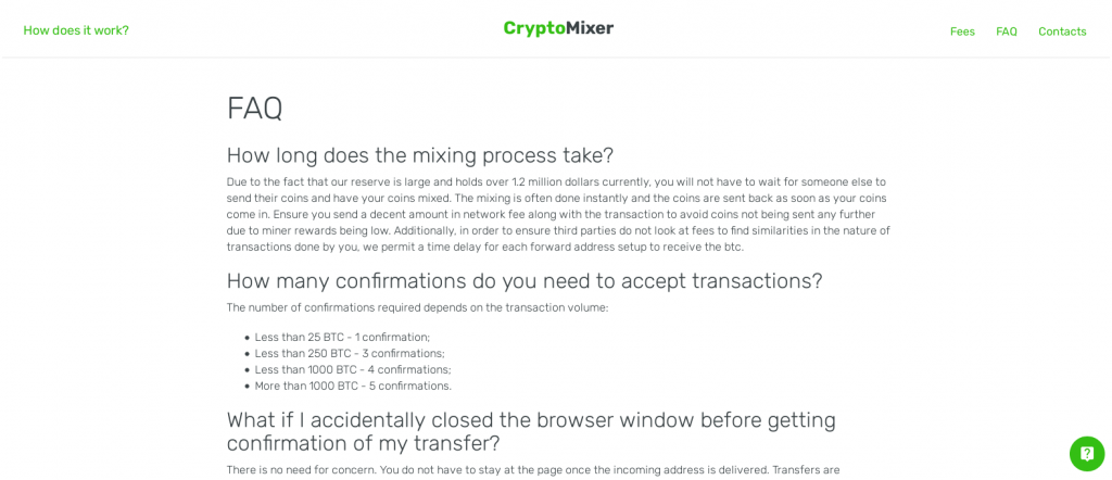 CryptoMixer FAQ